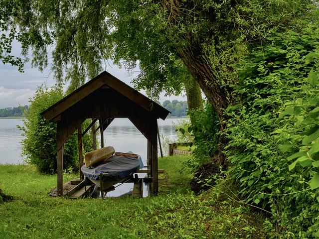 carport bois metal bateau